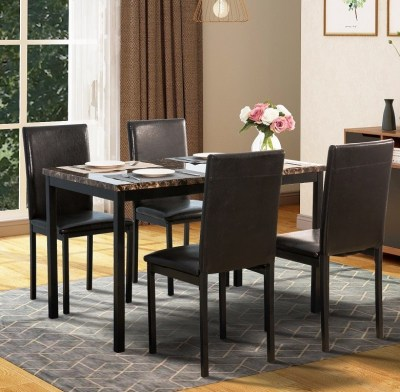 WALMART: Harper & Bright Designs 5-Piece Faux Marble and PU Leather Dining Set, Black SALE! $179.00 (Reg $228.99)