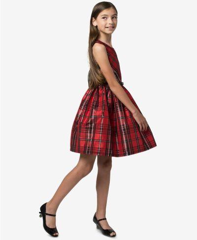 MACY'S: Bonnie Jean Big Girls Belted Plaid Taffeta Dress, JUST $16.76 (Reg $84.00)