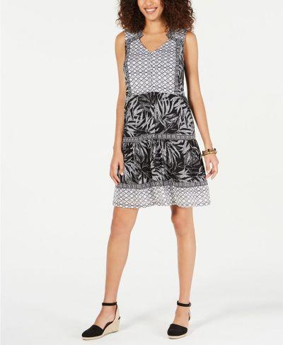 MACY'S: Style & Co Mixed-Print Sleeveless Peasant Dress, JUST $9.96 (Reg $59.50)