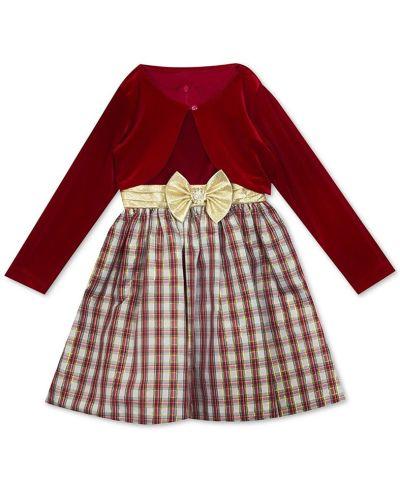 MACY'S: Rare Editions Big Girls 2-Pc. Velvet Bolero & Plaid Bow Dress Set , JUST $16.76 (Reg $84.00)