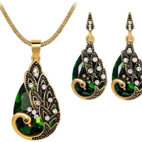 Amazon : Women Gems Peacock Pendant Earrings Necklace Vintage Wedding Jewelry Set Just $1.58 (As of 2/26/2020 12.10 PM CST)