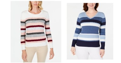 Macy's: Karen Scott Womens Petite Cotton Striped Cable-Knit Sweater From $7.96 ($46.50)