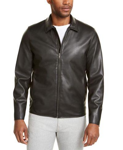 MACY'S: Alfani Men's Faux-Leather Harrington Jacket $41.85 (Reg $139.50) with code FLASH