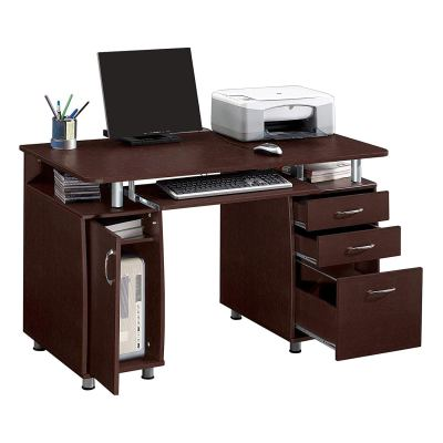 WALMART: Ktaxon Brown Computer PC Desk Home Office Study Writing Table 3 Drawers Bookcase $169.99 (Reg $280.99)