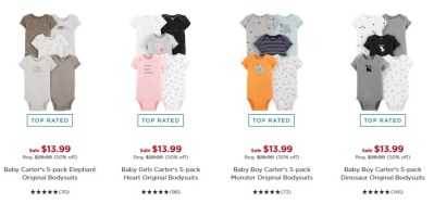 KOHL'S: Carter's Bodysuits 5-Packs ONLY $11.89 (Reg $26) – JUST $2.38 Each!