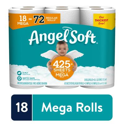 WALMART: Angel Soft Toilet Paper, 18 Mega Rolls (= 72 Regular Rolls)