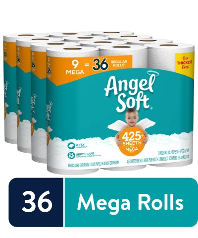 WALMART: Angel Soft Toilet Paper, 36 Mega Rolls (= 144 Regular Rolls)