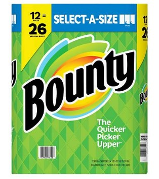 SAM'S CLUB: Bounty Select-A-Size Paper Towels, White (12 rolls) $19.98