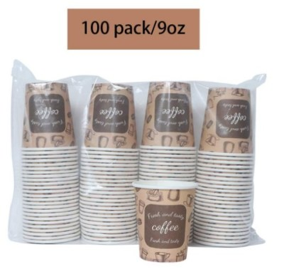 AMAZON: Disposable Coffee Cups 9 oz Insulated Paper, 100 Pack – 50% OFF!