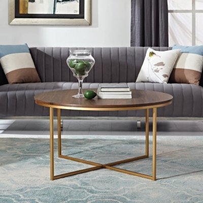 WALMART: Desert Fields Daisy Faux Marble And Gold Round Coffee Table For $99 (WAS $180) + FREE Shipping