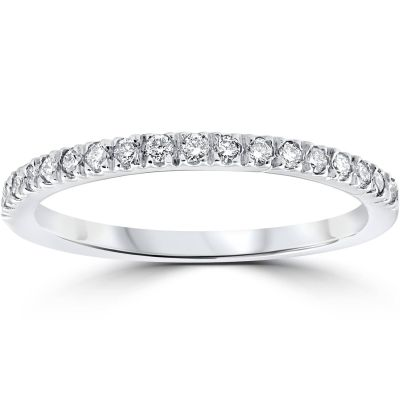 eBay: 1/3 ct Pave Diamond Wedding Pave Ring Womens Stackable Band 14K White Gold $131.59 (REG. $603.33)