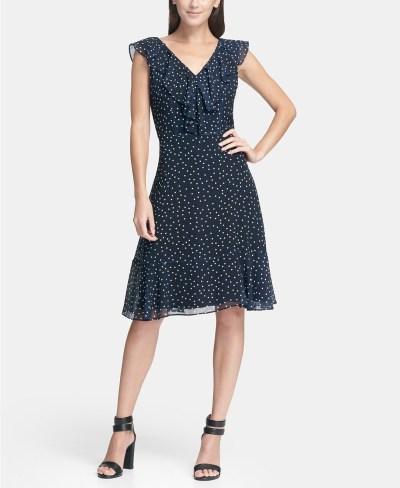 MACY'S: DKNY Ruffle Chiffon Polka Dot A-Line Dress $42 (Was $129) Shipped