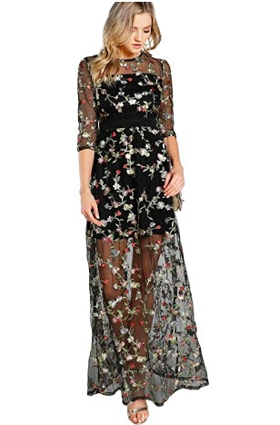 AMAZON: DIDK Women's A Line Floral Embroidery Mesh Sheer Evening Cocktail Dress – 75% OFF!