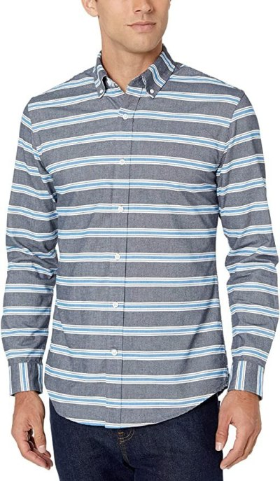 AMAZON: Men's Slim-Fit Long-Sleeve Pattern Pocket Oxford Shirt For $5.63 (Reg $30) + Free Prime Shipping