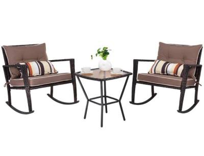 UNTIL GONE: Rattan 3-Piece Rocking Loveseat and Table Patio Set $277.99 (Reg $928.99)