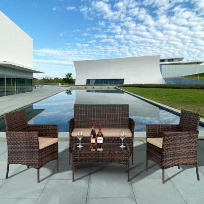 WALMART: Zimtown 4 PCS Outdoor Patio Furniture Brown PE Rattan Wicker Table and Chairs Set $204.99