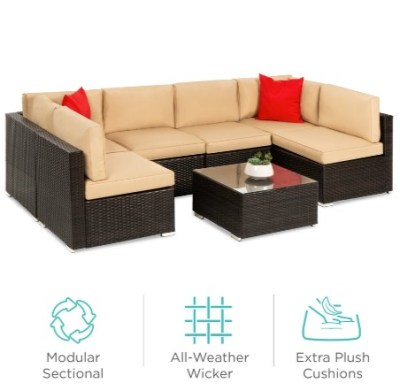 BCP: 7-Piece Modular Wicker Sectional Conversation Set w/ 2 Pillows, Cover $749.99 (REG. $1,099.99)