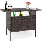 BCP: Outdoor Wicker Bar Counter Table w/ 2 Steel Shelves, 2 Rails $149.99 (REG. $217.99)
