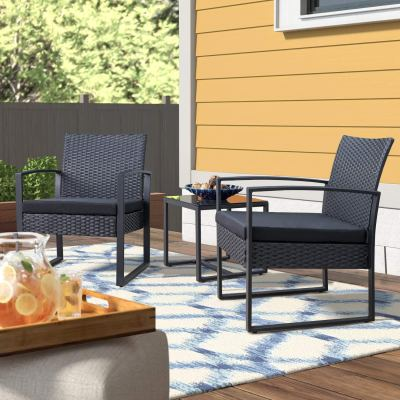 WALMART: Walnew Patio Furniture Cushioned PE Rattan Bistro Chairs Set of 2 with Table, 3 Piece, Black $114.99 ($179.99)