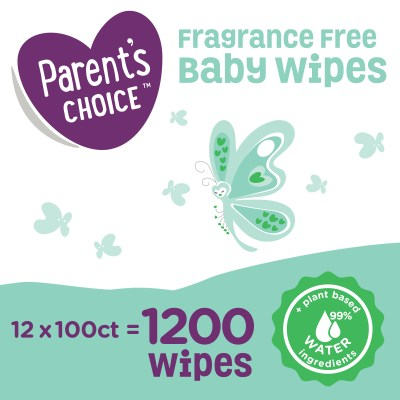 WALMART: Parent's Choice Fragrance Free Baby Wipes, 12 Flip-Top Packs