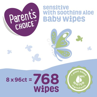 WALMART: Parent's Choice Sensitive with Soothing Aloe Baby Wipes, 8 packs of 96 (768 count)