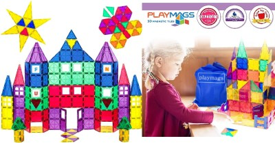 AMAZON: Playmags 3D Magnetic Blocks for Kids Set of 100 Blocks to Learn Shapes $37.5 ($109)