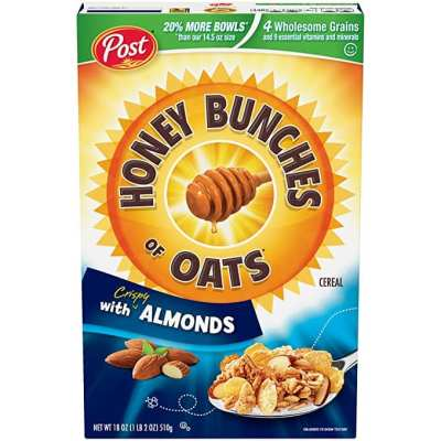 AMAZON: Post Honey Bunches of Oats with Crispy Almonds, Whole Grain, Low Fat Breakfast Cereal 18 oz. Box, $2.48