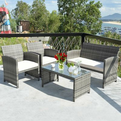 WALMART: Costway 4 Pc Rattan Patio Furniture Set Garden Sofa with White Cushions $359.99 (Reg $499.99)