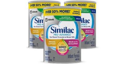 AMAZON: 3 Pack Similac Pro-Advance Non-GMO Infant Formula with Iron 36 OZ $93 ($130)