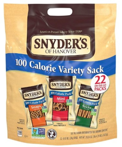 AMAZON: Snyder's of Hanover Pretzels, Variety Pack of 100 Calorie Individual Packs, 22 Count