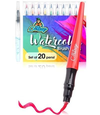 AMAZON: 20 Watercolor Brush Pens Soft Flexible Tip – 60% OFF!