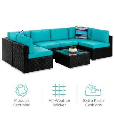 BCP: 7-Piece Modular Wicker Sectional Conversation Set w/ 2 Pillows, Cover $749.99 (REG. PRICE $1,099.99)