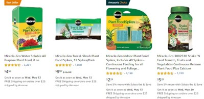AMAZON: Miracle-Gro Plant Food On SALE Under $10