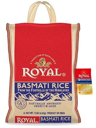 AMAZON: Authentic Royal Royal Basmati Rice, 15-Pound Bag, White $15.27