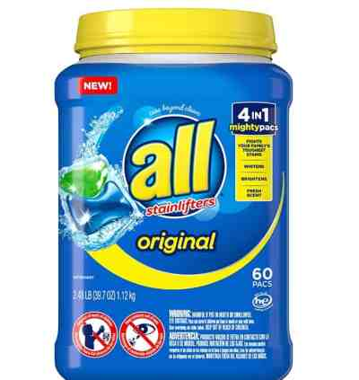 Amazon: All Mighty Pacs Laundry Detergent 4 in 1 Stainlifter for $8.97 (Reg. Price $14.99)