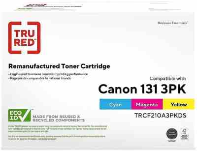 STAPLES: TRU RED™ Canon Cyan/Magenta/Yellow Re Manufactured Toner Cartridges For $108 (Was $239) + FREE Shipping!