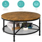 BCP: 2-Tier Round Industrial Wood & Steel Coffee Table, Storage Shelves $119.99 (REG. $218.99)