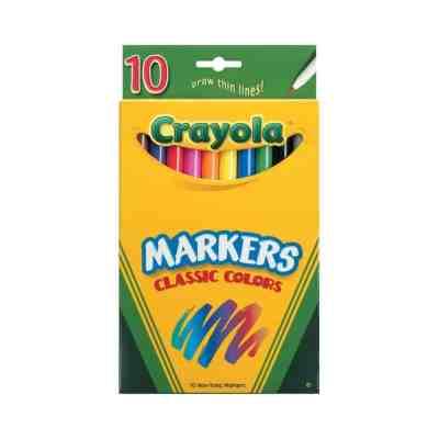 Walmart: Crayola Classic Thin Line Marker Set, 10-Colors For $0.97 (Was $3.22)
