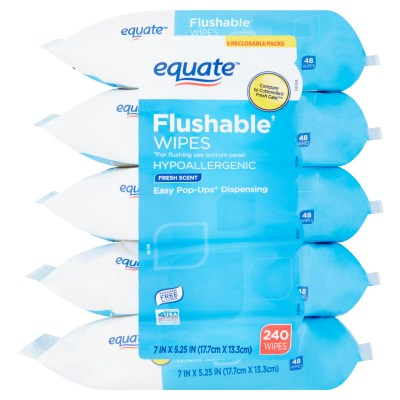 WALMART: Equate Flushable Wipes, Fresh Scent, 5 packs of 48 wipes, 240 wipes total