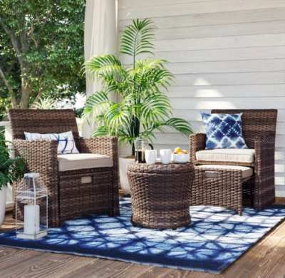 Target: Threshold Halsted 5-Piece Wicker Furniture Set – Tan ONLY $275 (Reg $550)
