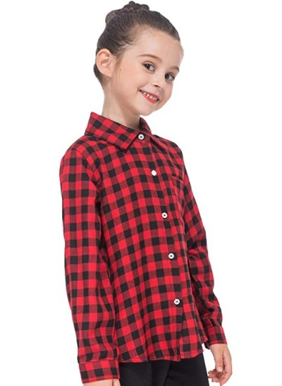 AMAZON: GAZIAR Girls Plaid Shirt Boys Button Down Cotton Long Sleeve Shirt with Pocket, $5.40-5.60 WITH CODE 80L387Y1