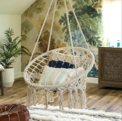 BCP: Handwoven Cotton Macrame Hammock Hanging Chair Swing w/ Backrest $54.99 (REG. $110.99)