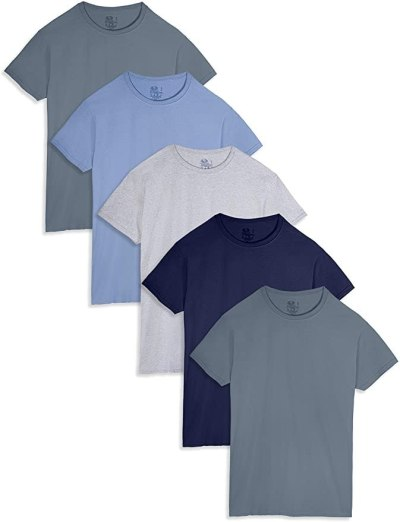 AMAZON: 5-Pack Fruit Of The Loom Men's Stay Tucked Crew T-Shirt For $12 (Was $22) + Free Prime Shipping
