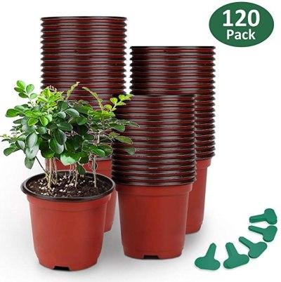 AMAZON: 120-Pack GROWNEER 4″ Plastic Plant Nursery Pots With 50 Pcs Plant Labels For $19.99