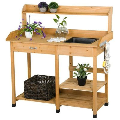 WALMART: Yaheetech Cedarwood Potting Bench With Removable Sink For $199.99 (Was $300) Shipped!