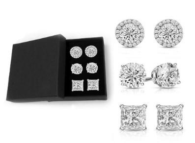 Woot: Set of 3 Sterling Silver Swarovski Crystal Stud Set w/ Giftbox $16.99 (Reg $119.99)