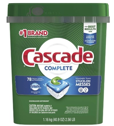 Amazon: 78 Count Cascade Complete ActionPacs, Dishwasher Detergent for $13.86 (Reg. Price $18.99)