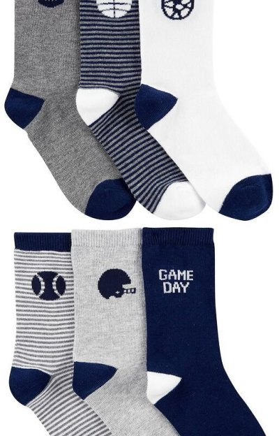 Carter's: 6-Pack Sports Crew Socks $11 (Was $22)