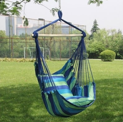 Woot: Hammock Chair Swing Seat - 2 Seat Cushions Included $24.99 (Reg $39.99)