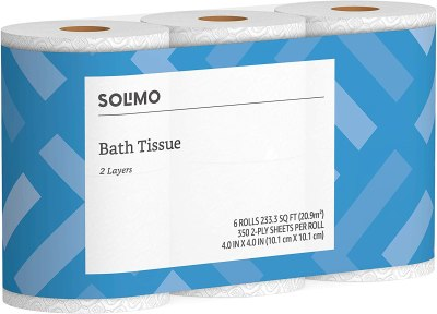Amazon: Solimo 2-Ply Toilet Paper, 350 Sheets per Roll, 6 Count, Just $5.99